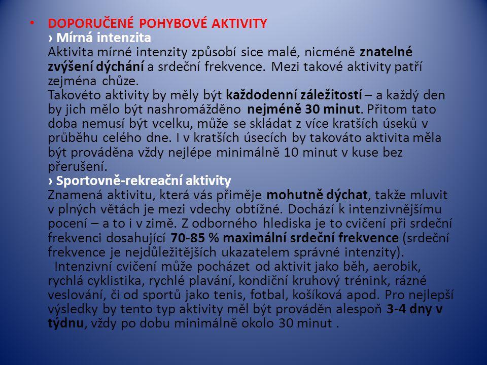 DOPORUČENÉ POHYBOVÉ AKTIVITY › Mírná intenzita Aktivita mírné intenzity způsobí sice malé, nicméně znatelné zvýšení dýchání a srdeční frekvence. Mezi