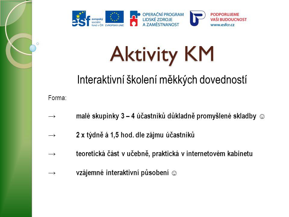 Aktivity KM Interaktivní školení měkkých dovedností Forma: → malé skupinky 3 – 4 účastníků důkladně promyšlené skladby ☺ →2 x týdně á 1,5 hod. dle záj