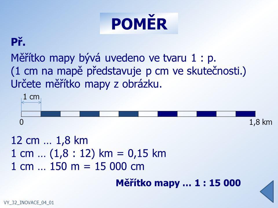 POMĚR Př.Měřítko mapy bývá uvedeno ve tvaru 1 : p.