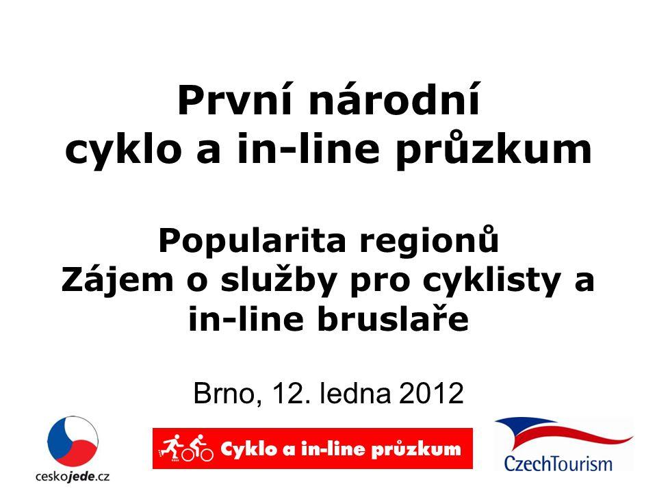 První národní cyklo a in-line průzkum Popularita regionů Zájem o služby pro cyklisty a in-line bruslaře Brno, 12.