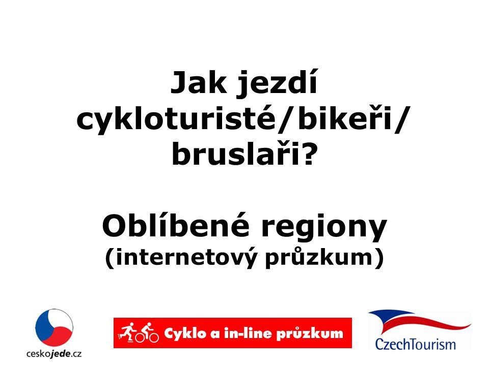 Jak jezdí cykloturisté/bikeři/ bruslaři Oblíbené regiony (internetový průzkum)