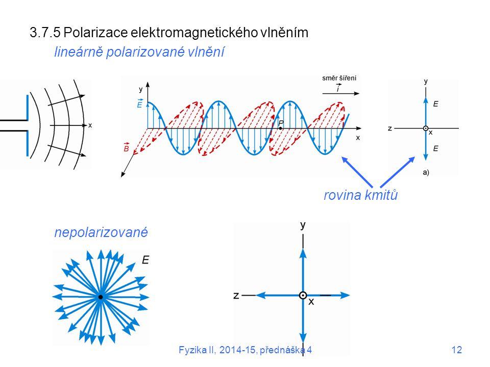 3.7.5 Polarizace elektromagnetického vlněním lineárně polarizované vlnění rovina kmitů nepolarizované Fyzika II, 2014-15, přednáška 412