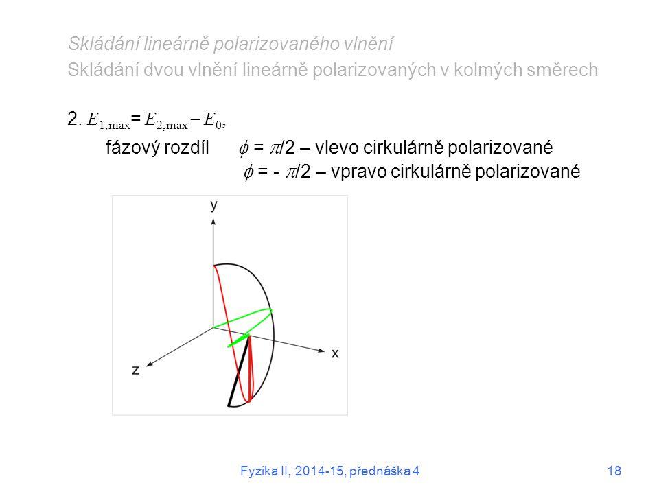 Skládání lineárně polarizovaného vlnění Skládání dvou vlnění lineárně polarizovaných v kolmých směrech 2. E 1, max = E 2,max = E 0, fázový rozdíl  =