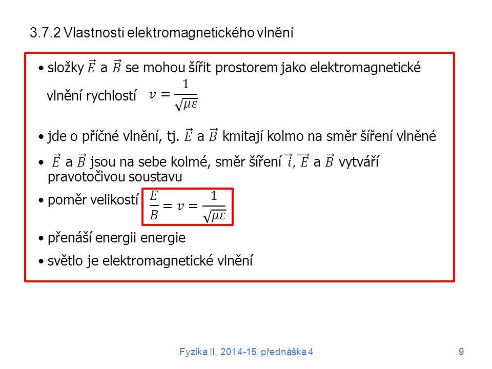 3.7.2 Vlastnosti elektromagnetického vlnění Fyzika II, 2014-15, přednáška 49