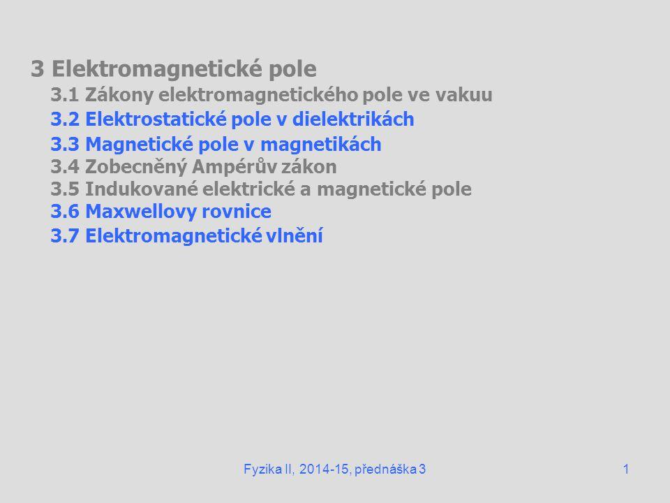 3 Elektromagnetické pole 3.1 Zákony elektromagnetického pole ve vakuu 3.2 Elektrostatické pole v dielektrikách 3.3 Magnetické pole v magnetikách 3.4 Z