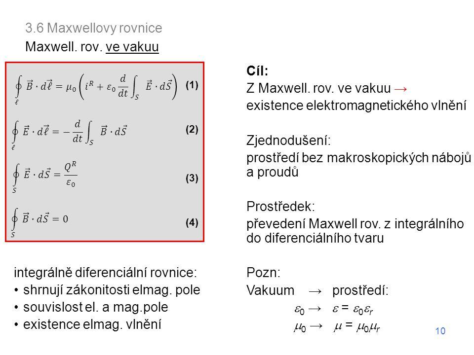3.6 Maxwellovy rovnice Maxwell. rov. ve vakuu Cíl: Z Maxwell. rov. ve vakuu → existence elektromagnetického vlnění Zjednodušení: prostředí bez makrosk