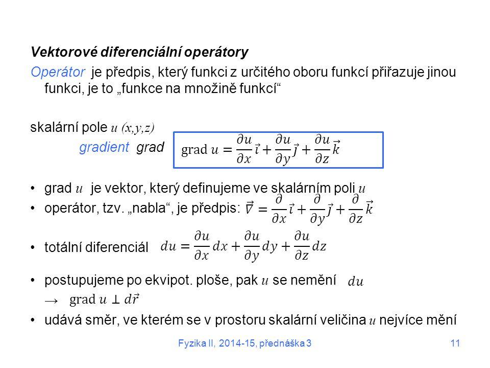 """Vektorové diferenciální operátory Operátor je předpis, který funkci z určitého oboru funkcí přiřazuje jinou funkci, je to """"funkce na množině funkcí"""" s"""