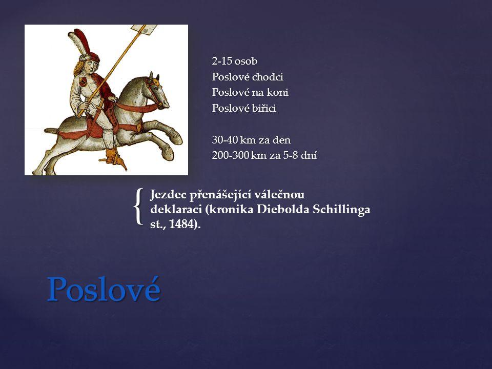 { 2-15 osob Poslové chodci Poslové na koni Poslové biřici 30-40 km za den 200-300 km za 5-8 dní Jezdec přenášející válečnou deklaraci (kronika Diebolda Schillinga st., 1484).