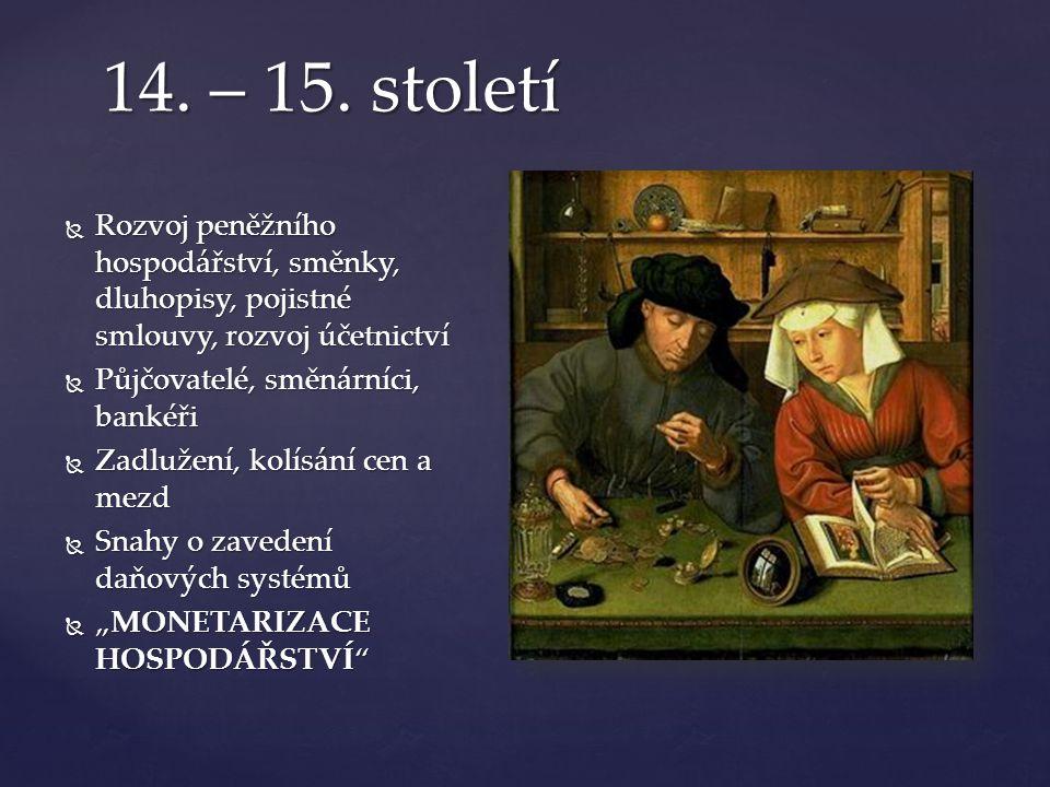 14. – 15. století  Rozvoj peněžního hospodářství, směnky, dluhopisy, pojistné smlouvy, rozvoj účetnictví  Půjčovatelé, směnárníci, bankéři  Zadluže