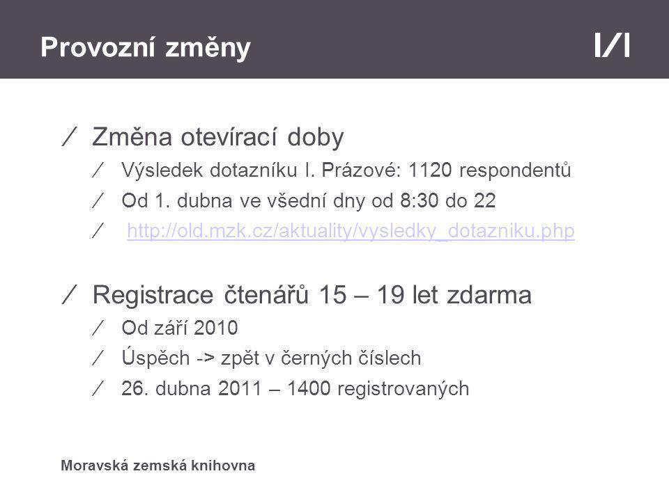 Moravská zemská knihovna Provozní změny ⁄Změna otevírací doby ⁄Výsledek dotazníku I.