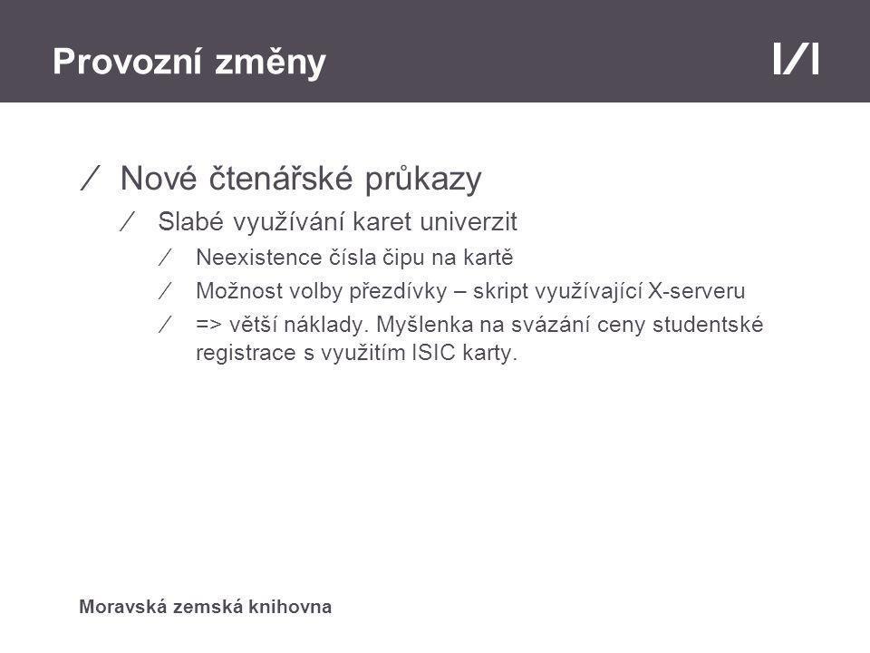 Moravská zemská knihovna Provozní změny ⁄Nové čtenářské průkazy ⁄Slabé využívání karet univerzit ⁄Neexistence čísla čipu na kartě ⁄Možnost volby přezdívky – skript využívající X-serveru ⁄=> větší náklady.