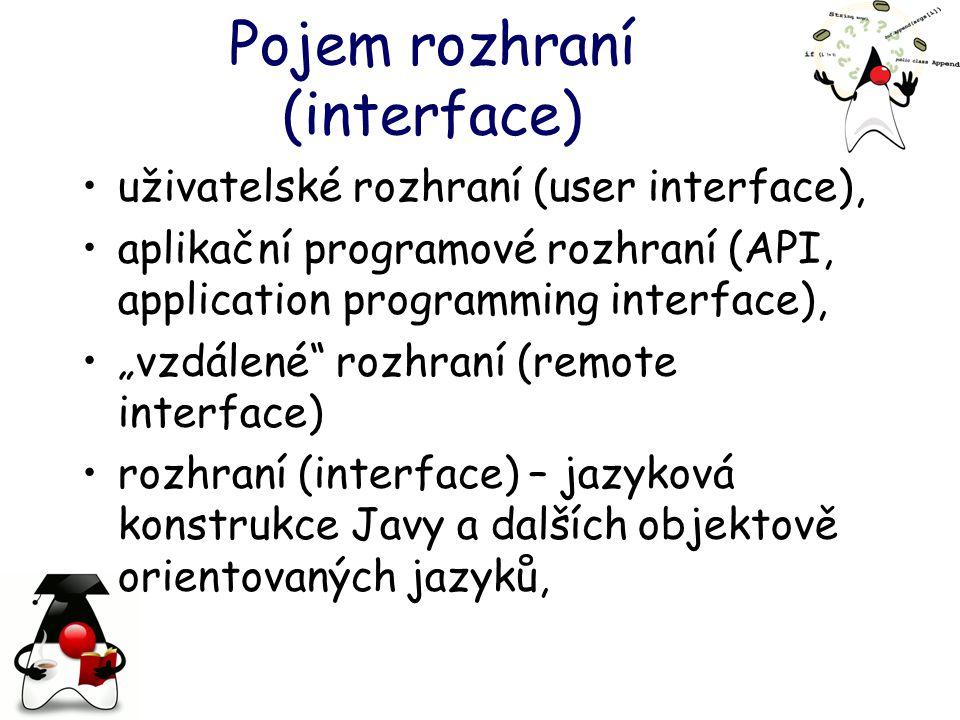 """Pojem rozhraní (interface) uživatelské rozhraní (user interface), aplikační programové rozhraní (API, application programming interface), """"vzdálené rozhraní (remote interface) rozhraní (interface) – jazyková konstrukce Javy a dalších objektově orientovaných jazyků,"""