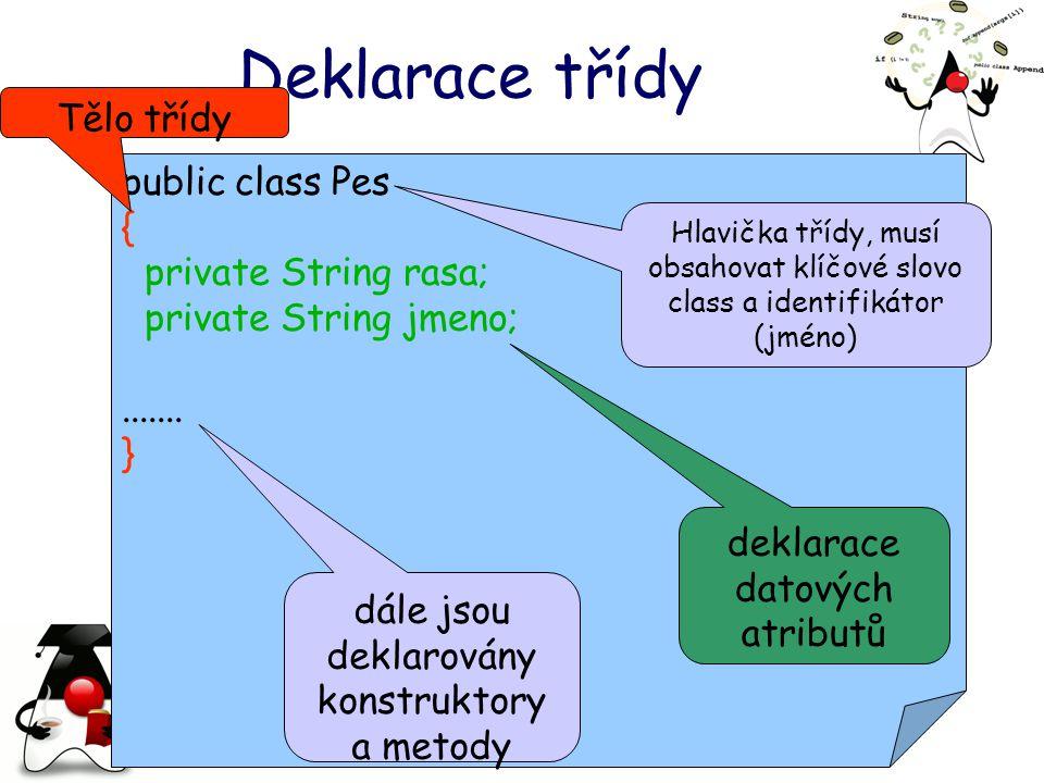 Deklarace třídy public class Pes { private String rasa; private String jmeno;.......