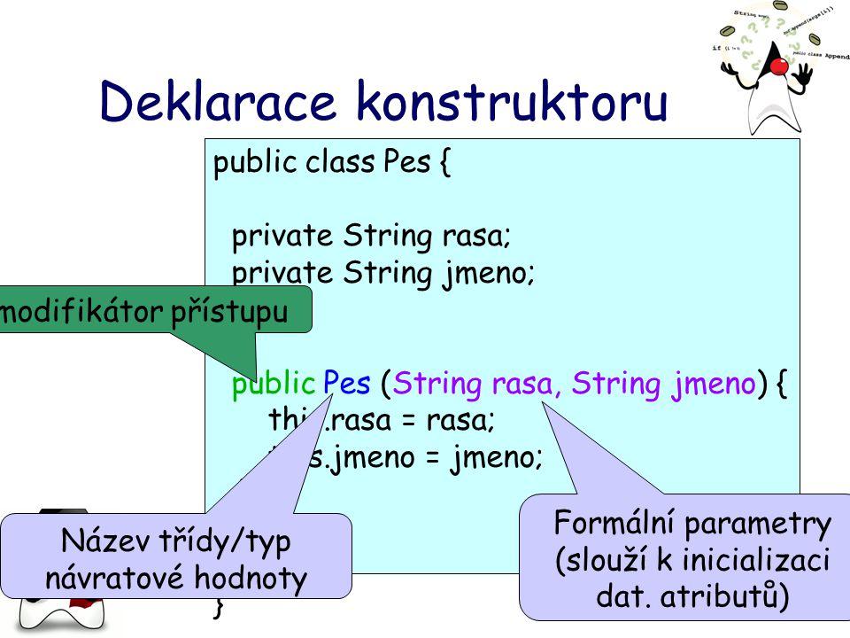 Deklarace konstruktoru public class Pes { private String rasa; private String jmeno; public Pes (String rasa, String jmeno) { this.rasa = rasa; this.jmeno = jmeno; }.......