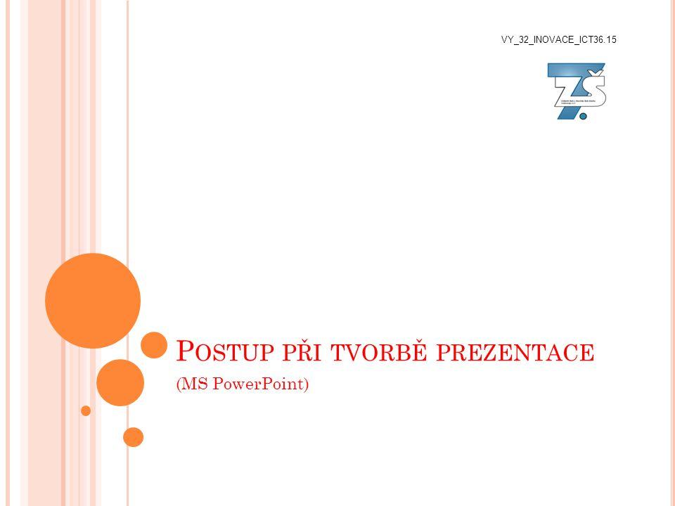 P OSTUP PŘI TVORBĚ PREZENTACE (MS PowerPoint) VY_32_INOVACE_ICT36.15