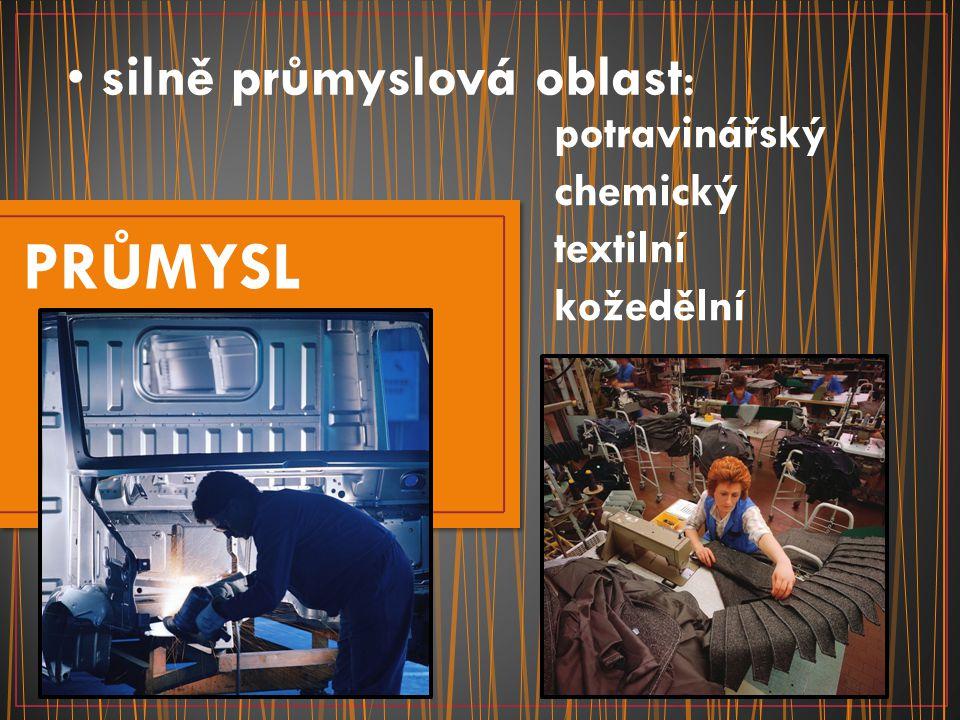 silně průmyslová oblast: PRŮMYSL potravinářský chemický textilní kožedělní