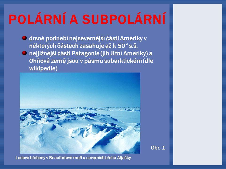 POLÁRNÍ A SUBPOLÁRNÍ Ledové hřebeny v Beaufortově moři u severních břehů Aljašky drsné podnebí nejsevernější části Ameriky v některých částech zasahuje až k 50°s.š.