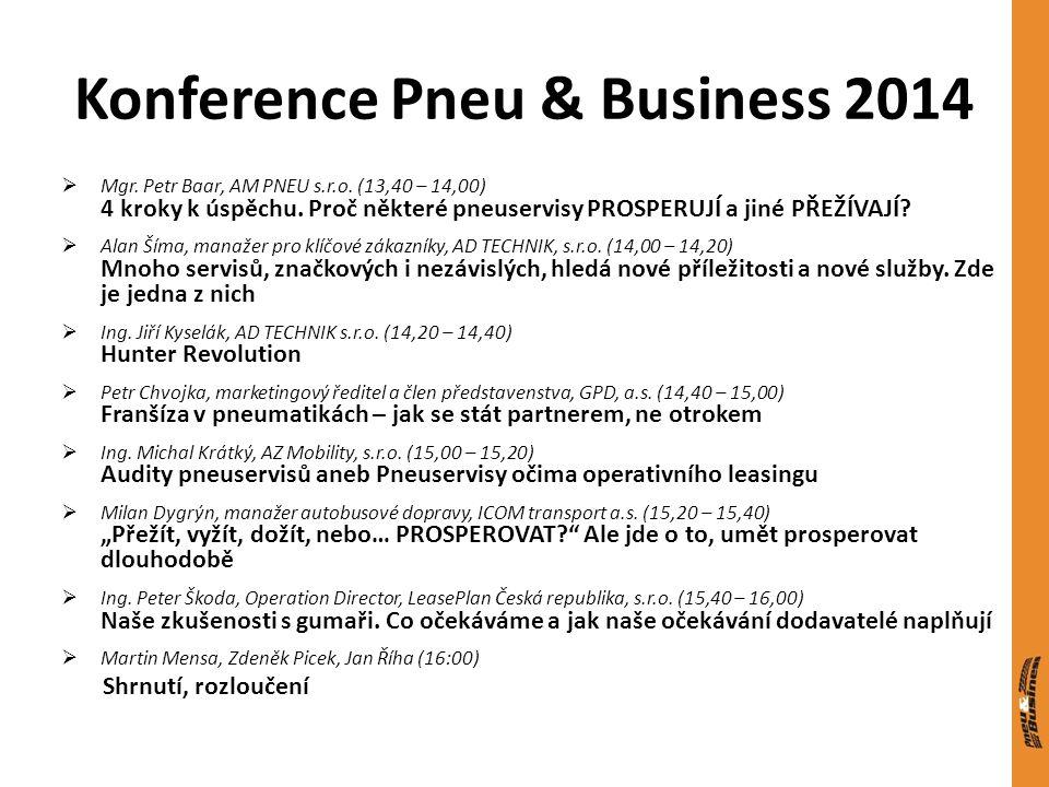 Konference Pneu & Business 2014  Mgr. Petr Baar, AM PNEU s.r.o. (13,40 – 14,00) 4 kroky k úspěchu. Proč některé pneuservisy PROSPERUJÍ a jiné PŘEŽÍVA