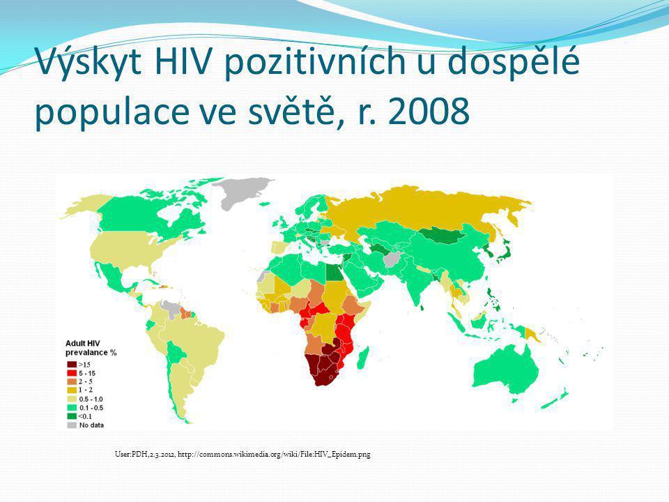 Výskyt HIV pozitivních u dospělé populace ve světě, r. 2008 User:PDH,2.3.2012, http://commons.wikimedia.org/wiki/File:HIV_Epidem.png