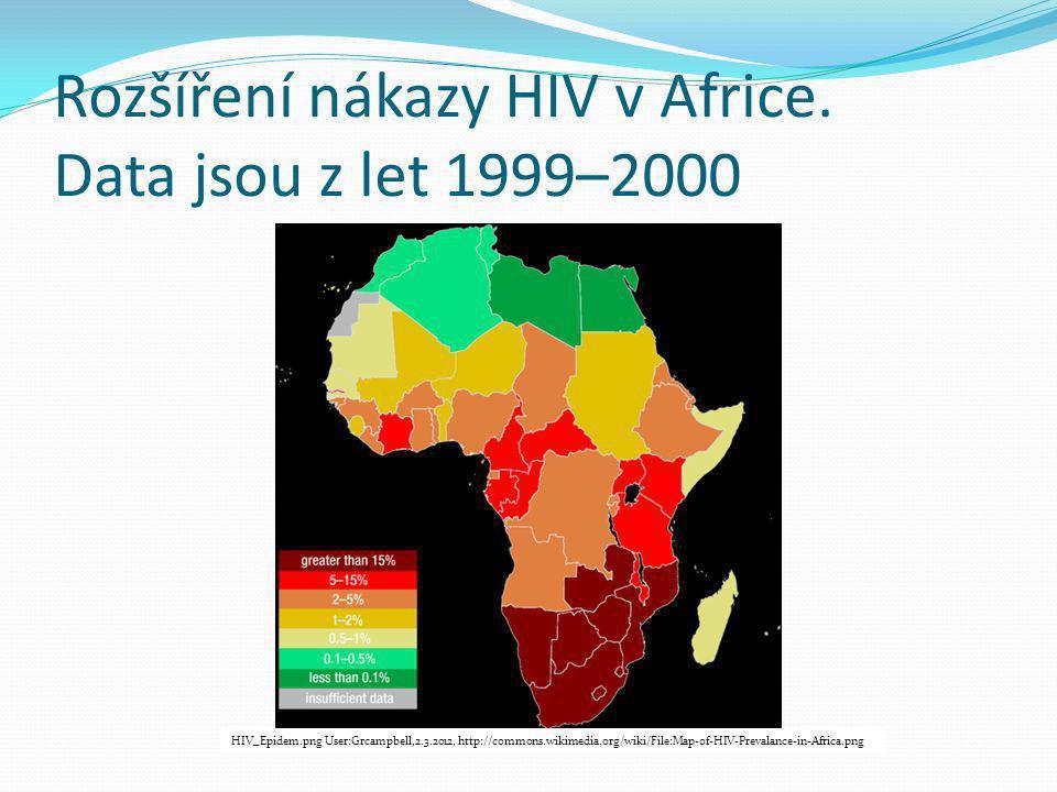 Rozšíření nákazy HIV v Africe. Data jsou z let 1999–2000 HIV_Epidem.png User:Grcampbell,2.3.2012, http://commons.wikimedia.org/wiki/File:Map-of-HIV-Pr