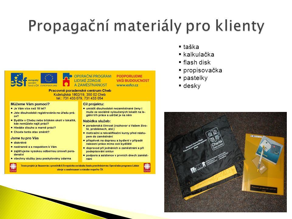  taška  kalkulačka  flash disk  propisovačka  pastelky  desky