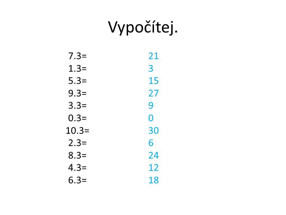 Vypočítej. 7.3= 1.3= 5.3= 9.3= 3.3= 0.3= 10.3= 2.3= 8.3= 4.3= 6.3= 21 3 15 27 9 0 30 6 24 12 18