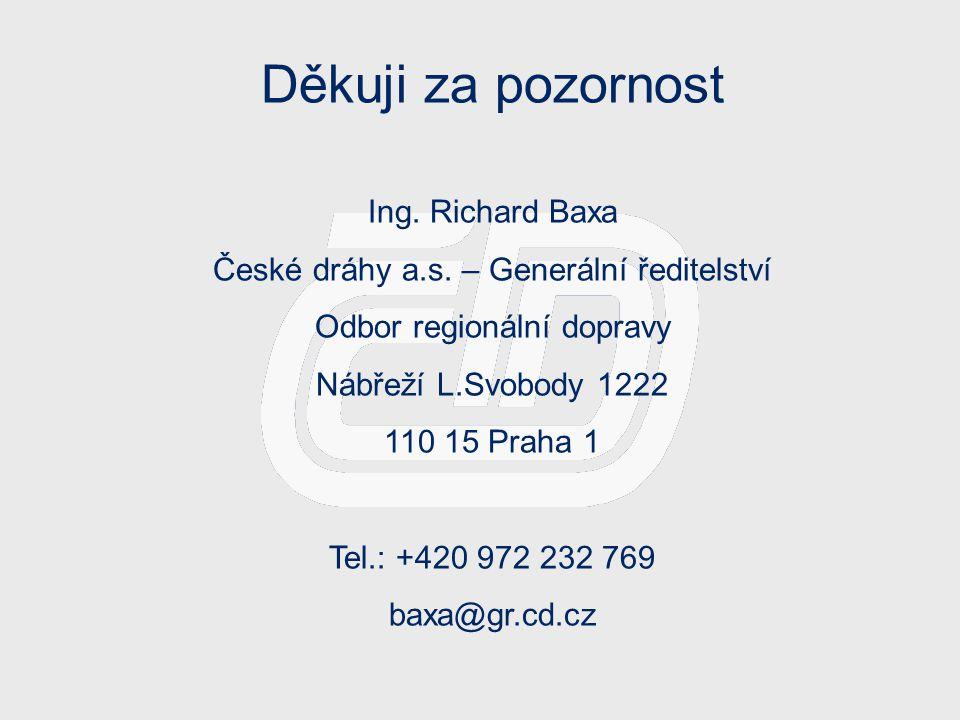 Děkuji za pozornost Ing. Richard Baxa České dráhy a.s. – Generální ředitelství Odbor regionální dopravy Nábřeží L.Svobody 1222 110 15 Praha 1 Tel.: +4
