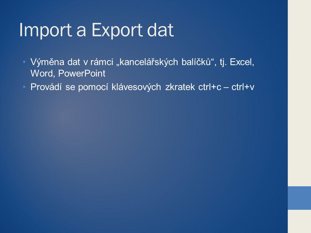 """Import a Export dat Výměna dat v rámci """"kancelářských balíčků"""", tj. Excel, Word, PowerPoint Provádí se pomocí klávesových zkratek ctrl+c – ctrl+v"""