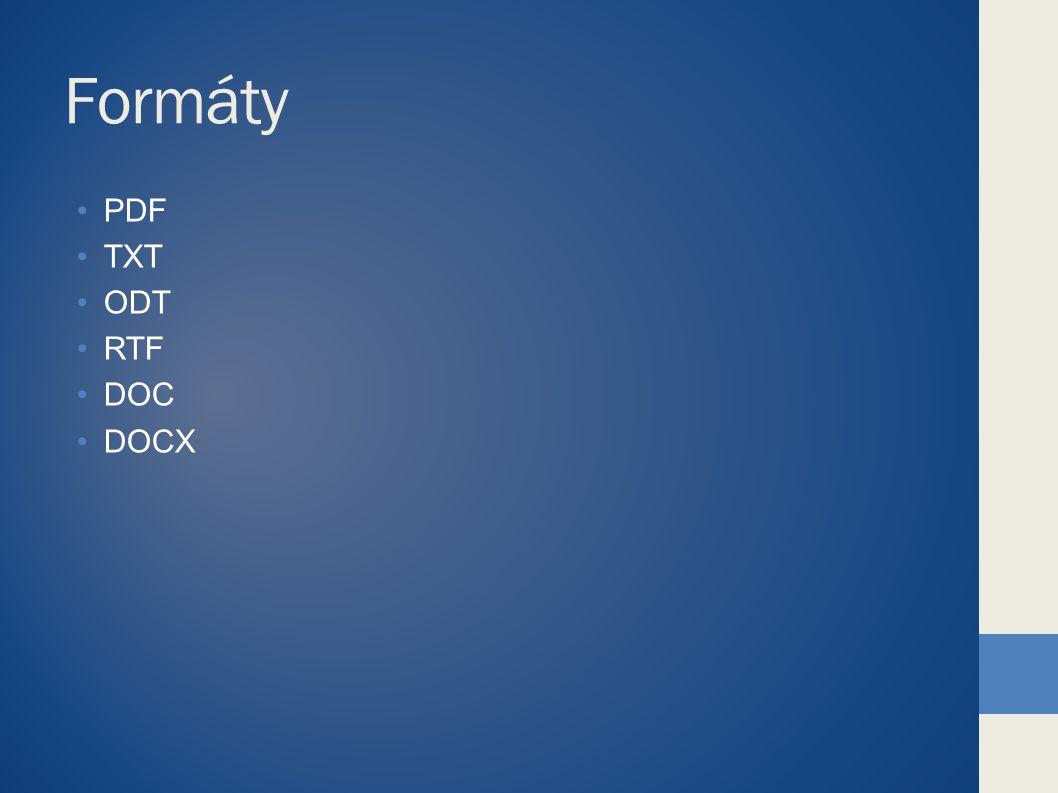 PDF Portable Document Format – Přenosný formát dokumentů Vyvinut firmou Adobe Uzamyká data, fonty, formýty a nastavení Lze otevřít na jakémkoliv PC ve stejné podobě VÝHODY Vždy stejně vypadající dokument Uzamčený, neměnný formát Lze jej vytvořit přímo z programů MS balíků Menší velikost souborů než DOC Nevýhody Uzamčený, neměnný formát Potřeba placené verze Acrobat Reader i pro čtení PDF Nelze z něj využít jednotliví prvky (např.: obrázky)jako z dokumentu DOCX, PPTX