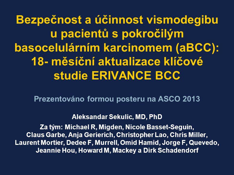 Klíčová studie splnila primární cíl, Nezávislé hodnocení ORR: ‒ 30% u mBCC ‒ 43% u laBCC Medián DOR: 7,6 měsíců (obě kohorty) Studie ERIVANCE BCC prokázala vysokou četnost léčebných odpovědí u lokálně pokročilého (la) a metastatického (m) BCC Maximální pokles velikosti nádoru podle IRF mBCC laBCC DOR: trvání odpovědi; IRF: nezávislá hodnotící komise; ORR: celková četnost odpovědí, Sekulic A et al.