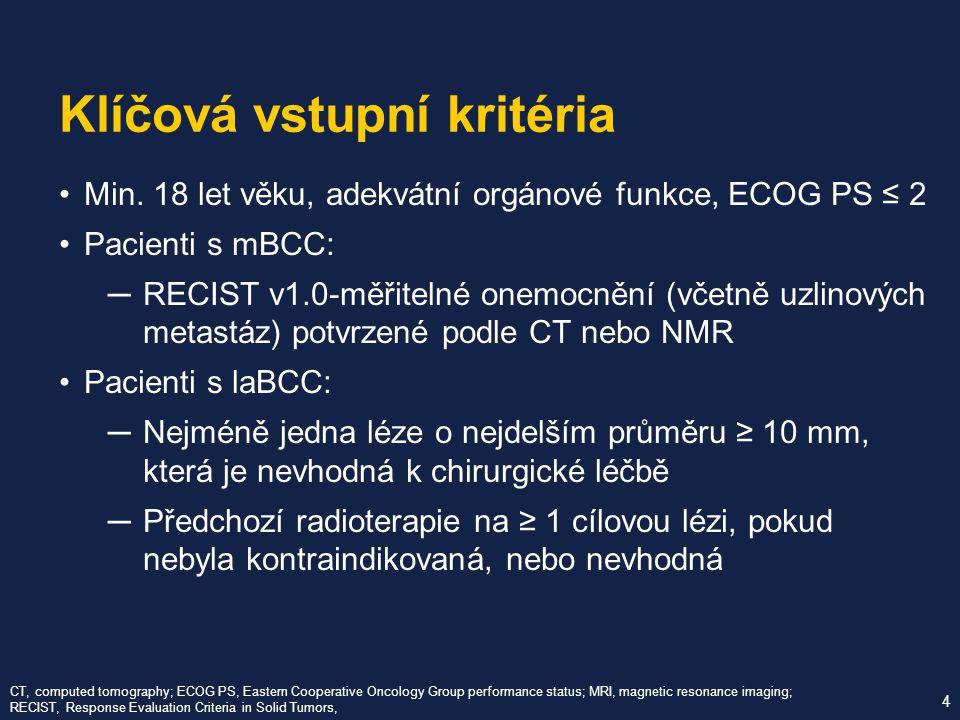 Min. 18 let věku, adekvátní orgánové funkce, ECOG PS ≤ 2 Pacienti s mBCC: ─ RECIST v1.0-měřitelné onemocnění (včetně uzlinových metastáz) potvrzené po