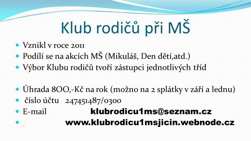 Klub rodičů při MŠ Vznikl v roce 2011 Podílí se na akcích MŠ (Mikuláš, Den dětí,atd.) Výbor Klubu rodičů tvoří zástupci jednotlivých tříd Úhrada 8OO,-Kč na rok (možno na 2 splátky v září a lednu) číslo účtu247451487/0300 E-mail klubrodicu1ms@seznam.cz www.klubrodicu1msjicin.webnode.cz