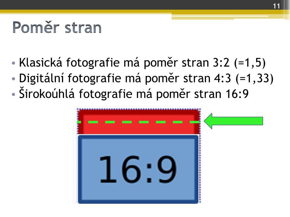 Klasická fotografie má poměr stran 3:2 (=1,5) Digitální fotografie má poměr stran 4:3 (=1,33) Širokoúhlá fotografie má poměr stran 16:9 11