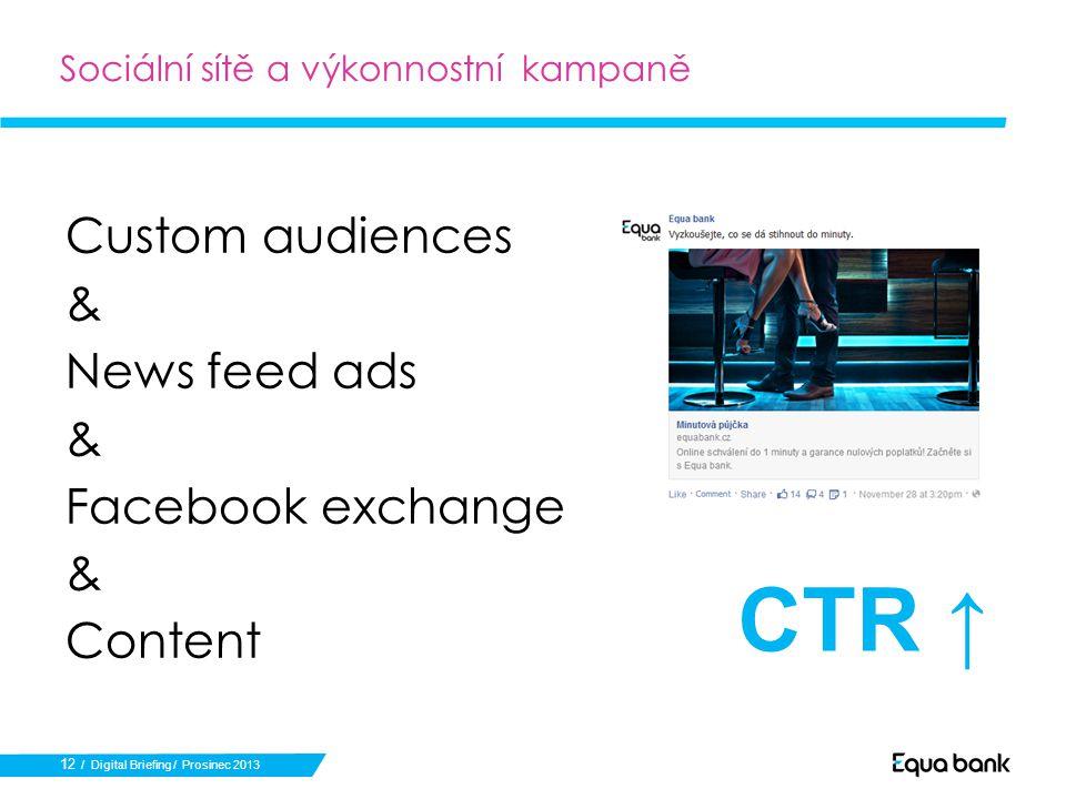 12 Sociální sítě a výkonnostní kampaně Custom audiences & News feed ads & Facebook exchange & Content / Digital Briefing / Prosinec 2013 CTR ↑