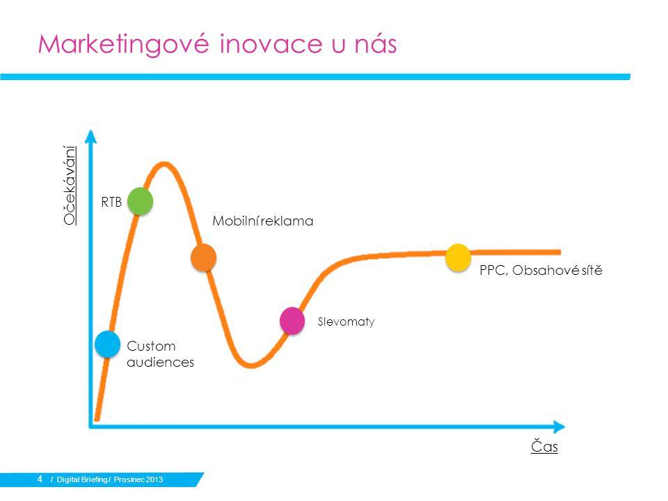 Marketingové inovace u nás Očekávání Čas Custom audiences RTB Mobilní reklama Slevomaty PPC, Obsahové sítě / Digital Briefing / Prosinec 2013 4