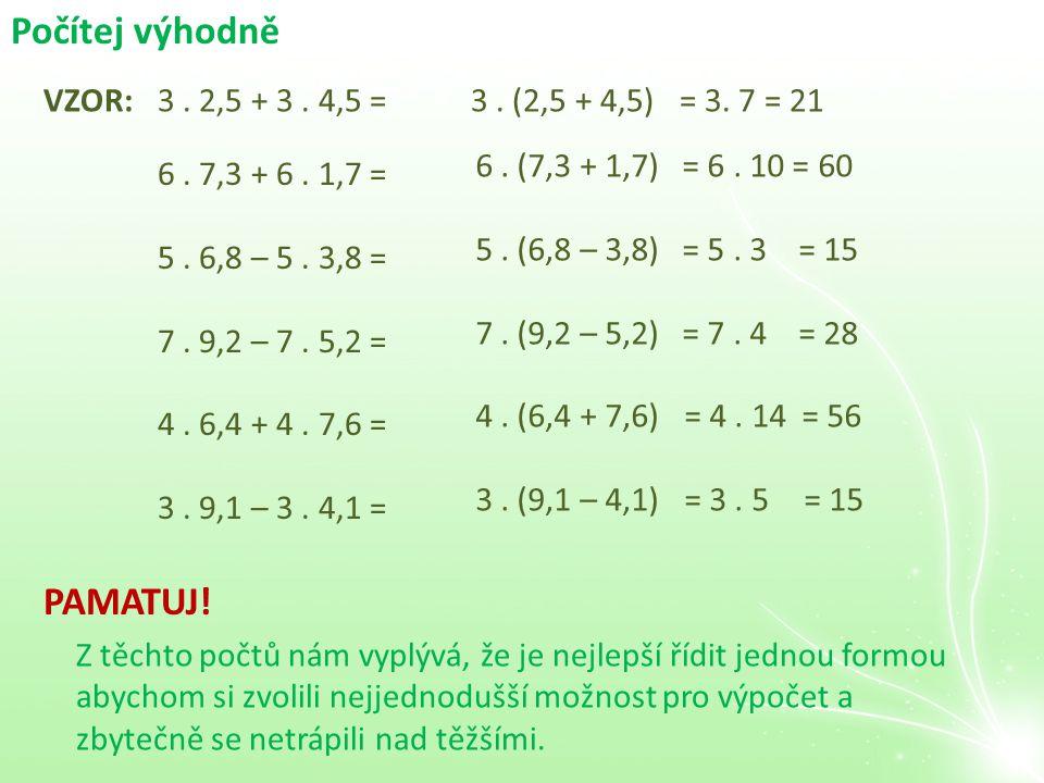 Počítej výhodně VZOR:3. 2,5 + 3. 4,5 =3. (2,5 + 4,5)= 3. 7 = 21 6. 7,3 + 6. 1,7 = 5. 6,8 – 5. 3,8 = 7. 9,2 – 7. 5,2 = 4. 6,4 + 4. 7,6 = 3. 9,1 – 3. 4,