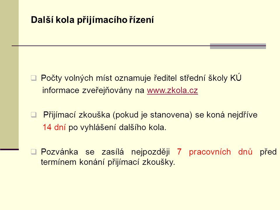 Další kola přijímacího řízení  Počty volných míst oznamuje ředitel střední školy KÚ informace zveřejňovány na www.zkola.czwww.zkola.cz  Přijímací zkouška (pokud je stanovena) se koná nejdříve 14 dní po vyhlášení dalšího kola.