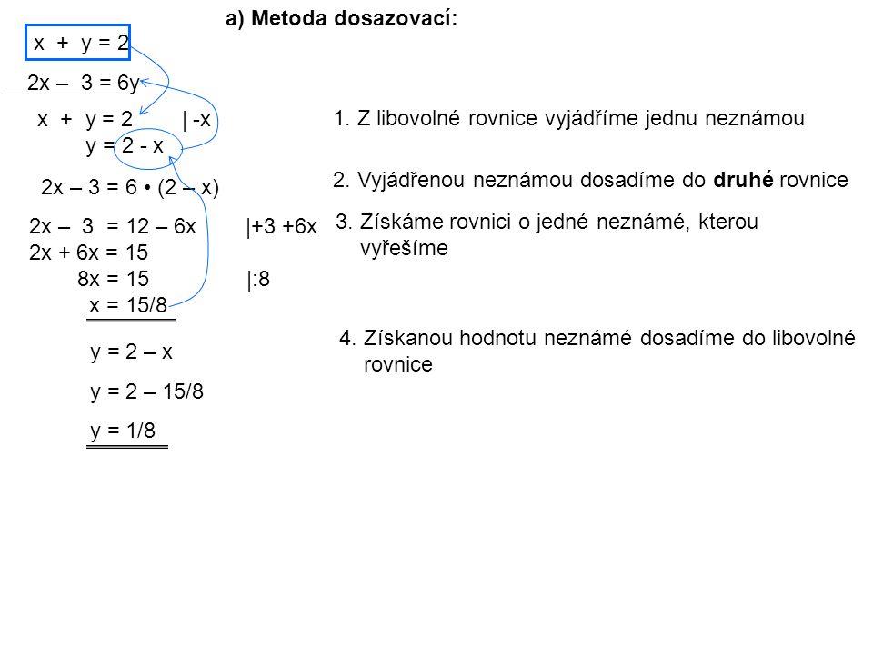 x + y = 2 2x – 3 = 6y a) Metoda dosazovací: 1.