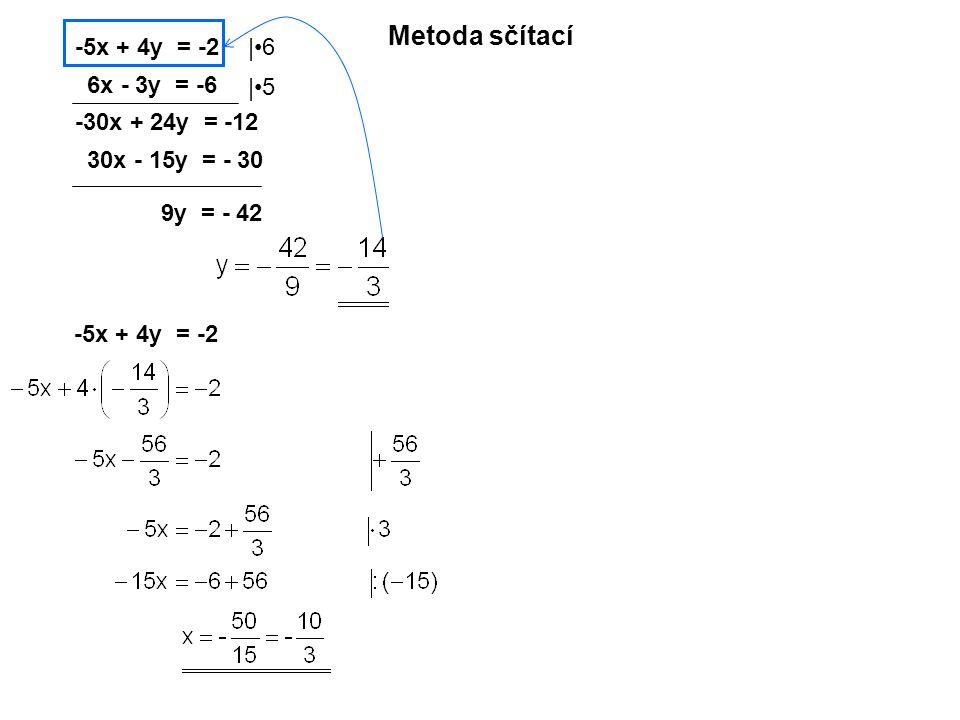Metoda sčítací -5x + 4y = -2 6x - 3y = -6 |6|6 |5|5 -30x + 24y = -12 30x - 15y = - 30 9y = - 42 -5x + 4y = -2