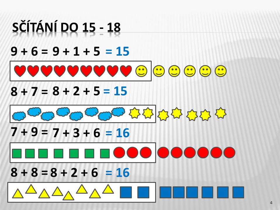 9 + 6 = 8 + 7 = 7 + 9 = 8 + 8 = 4 9 + 1 + 5 8 + 2 + 5 7 + 3 + 6 8 + 2 + 6 = 15 = 16