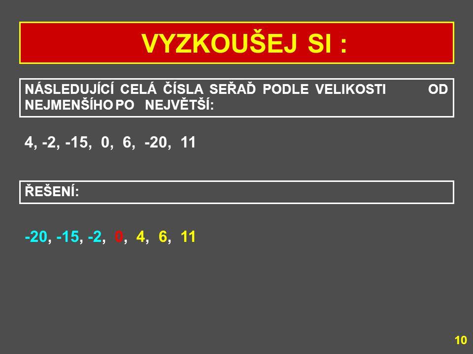 VYZKOUŠEJ SI : POROVNEJ POMOCÍ ZNAKŮ >, <, = TATO CELÁ ČÍSLA: a) +3 +5 b) +4 -2 c) -7 -6 d) -8 0 e) +3 0 f) -1 -1 a) +3 -2 c) -7 < -6 d) -8 0 f) -1 = -1 ŘEŠENÍ: 9