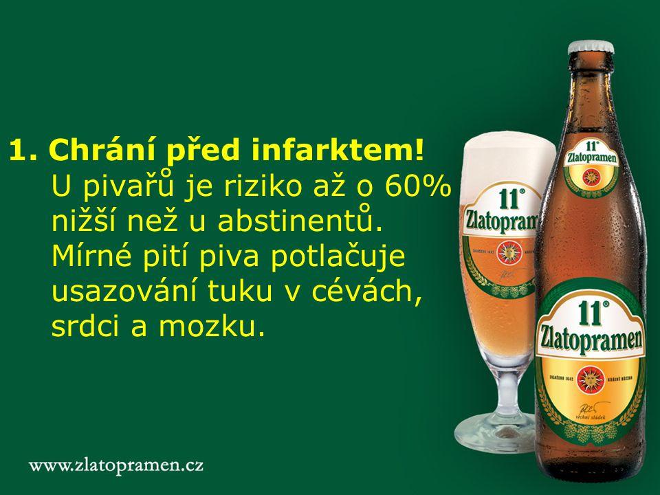 1. Chrání před infarktem! U pivařů je riziko až o 60% nižší než u abstinentů. Mírné pití piva potlačuje usazování tuku v cévách, srdci a mozku.