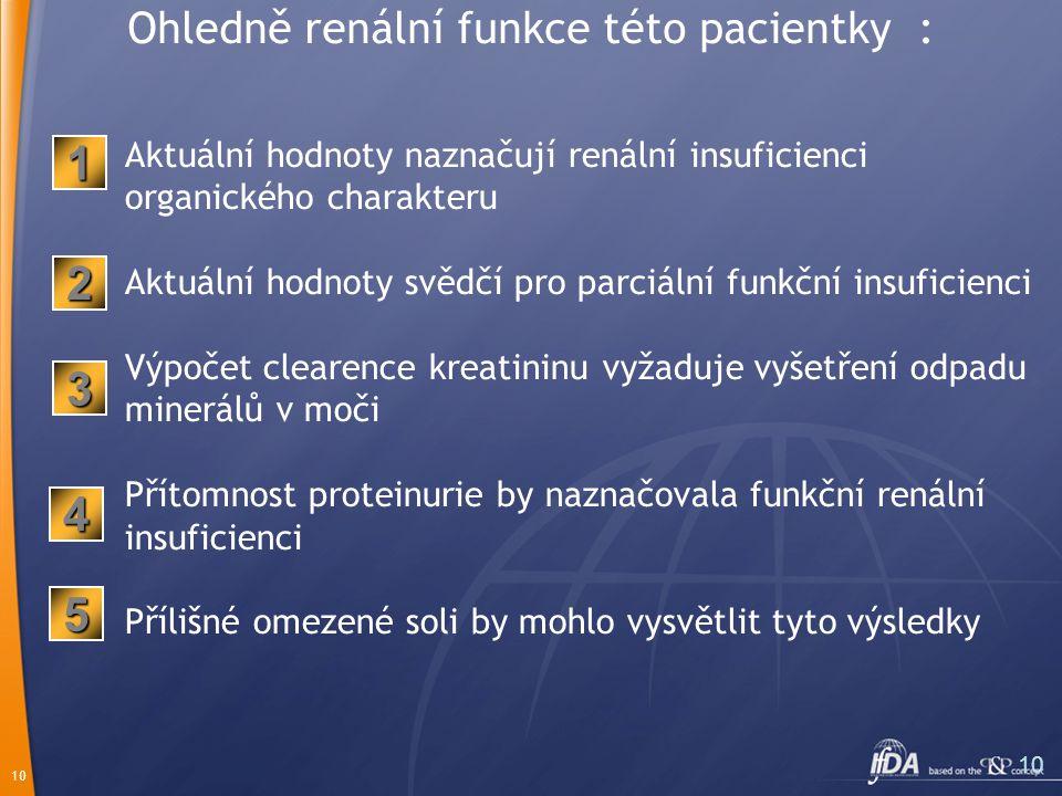 10 Ohledně renální funkce této pacientky : Aktuální hodnoty naznačují renální insuficienci organického charakteru Aktuální hodnoty svědčí pro parciální funkční insuficienci Výpočet clearence kreatininu vyžaduje vyšetření odpadu minerálů v moči Přítomnost proteinurie by naznačovala funkční renální insuficienci Přílišné omezené soli by mohlo vysvětlit tyto výsledky 2 1 3 5 4