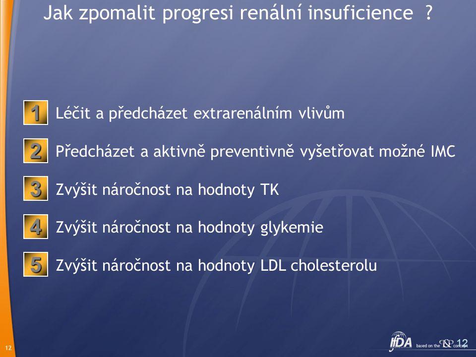 12 Jak zpomalit progresi renální insuficience ? Léčit a předcházet extrarenálním vlivům Předcházet a aktivně preventivně vyšetřovat možné IMC Zvýšit n