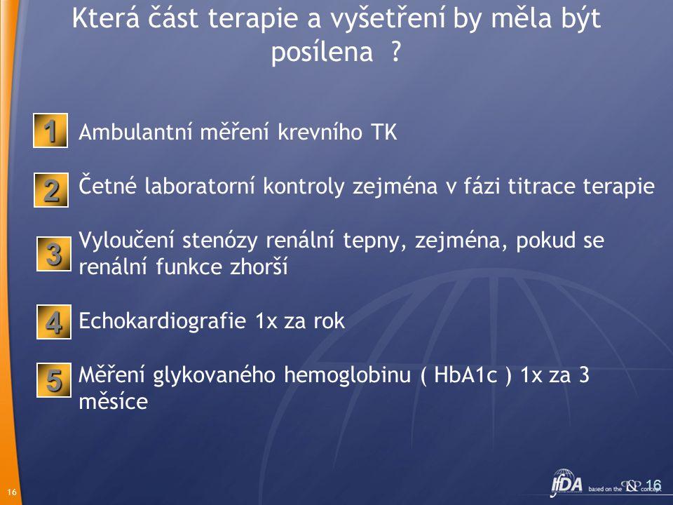 16 Která část terapie a vyšetření by měla být posílena ? Ambulantní měření krevního TK Četné laboratorní kontroly zejména v fázi titrace terapie Vylou