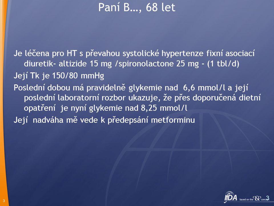 3 3 Paní B…, 68 let Je léčena pro HT s převahou systolické hypertenze fixní asociací diuretik- altizide 15 mg /spironolactone 25 mg - (1 tbl/d) Její T