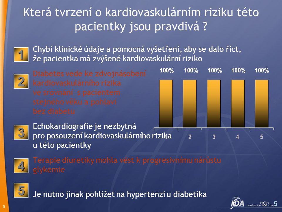 5 5 Která tvrzení o kardiovaskulárním riziku této pacientky jsou pravdivá ? Chybí klinické údaje a pomocná vyšetření, aby se dalo říct, že pacientka m
