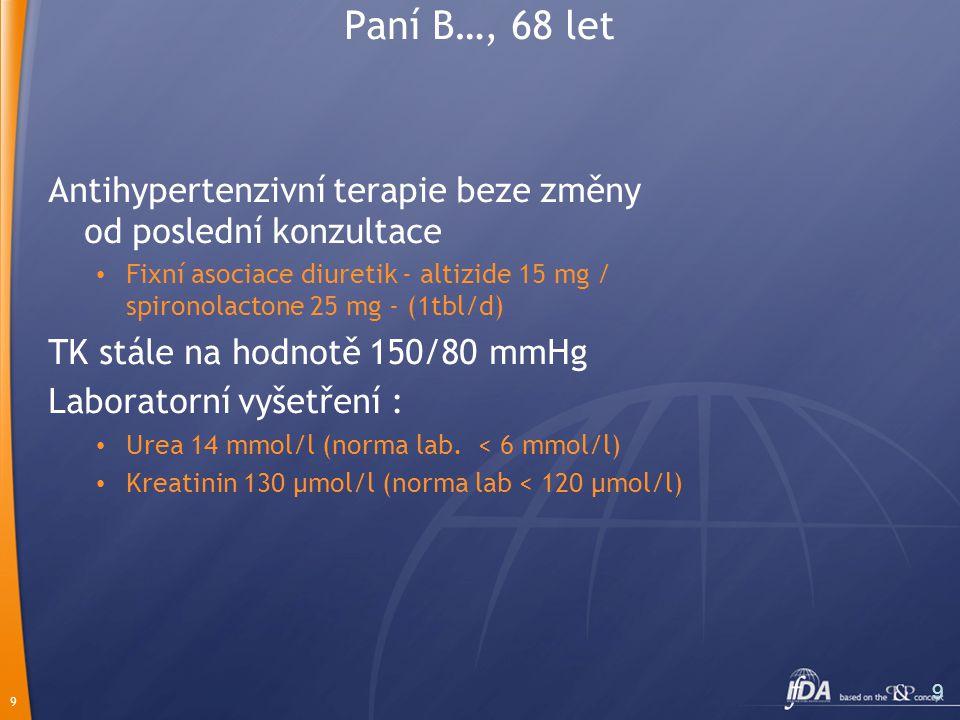 9 9 Paní B…, 68 let Antihypertenzivní terapie beze změny od poslední konzultace Fixní asociace diuretik - altizide 15 mg / spironolactone 25 mg - (1tbl/d) TK stále na hodnotě 150/80 mmHg Laboratorní vyšetření : Urea 14 mmol/l (norma lab.
