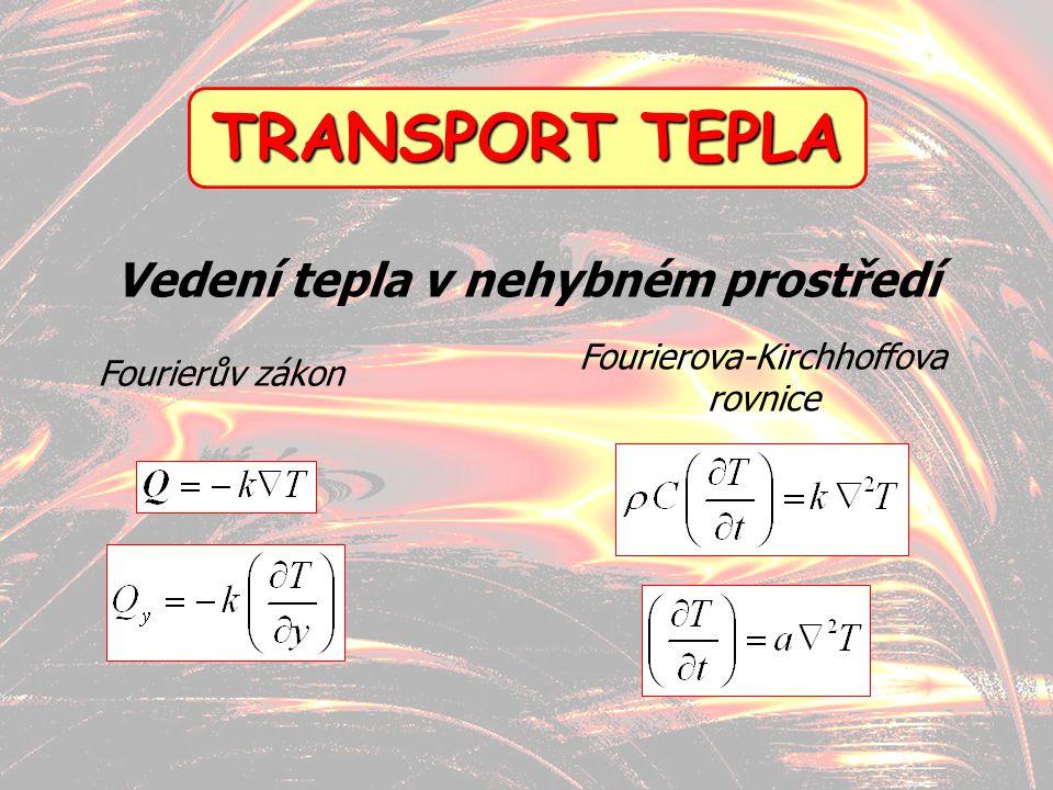 13 TRANSPORT TEPLA Fourierův zákon Fourierova-Kirchhoffova rovnice Vedení tepla v nehybném prostředí