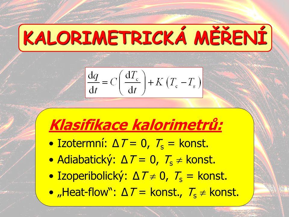 15 KALORIMETRICKÁ MĚŘENÍ Klasifikace kalorimetrů: Izotermní: ΔT = 0, T s = konst. Adiabatický: ΔT = 0, T s  konst. Izoperibolický: ΔT  0, T s = kons